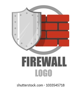 Firewall logo. Protection logo.Cyber security emblem. Network protection. Internet project. Logo icon design
