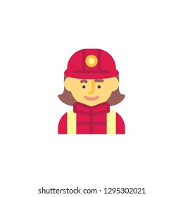 Firewoman in helmet flat icon, vector sign, colorful pictogram isolated on white. Woman firefighter avatar character symbol, logo illustration. Flat style design