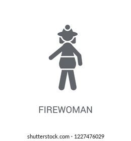 Firewoman icon. Trendy Firewoman logo concept on white background from Ladies collection. Suitable for use on web apps, mobile apps and print media.