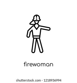 Firewoman icon. Trendy modern flat linear vector Firewoman icon on white background from thin line Ladies collection, editable outline stroke vector illustration