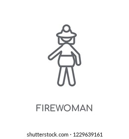 Firewoman linear icon. Modern outline Firewoman logo concept on white background from Ladies collection. Suitable for use on web apps, mobile apps and print media.