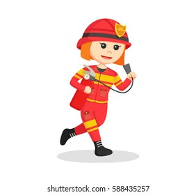 firewoman running with fire extinguisher