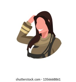 firewoman in uniform face avatar woman fire fighter professional occupation concept fire station worker female cartoon character portrait flat white background