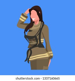 firewoman in uniform woman fire fighter professional occupation concept fire station worker female cartoon character portrait flat blue background