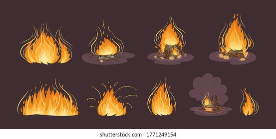 Firewood boards,bonfire of branches and logs, fire burning wooden logs, flaming and extinct fire bonfire and coals. Wood campfire. Wood material branches, planks, logs. Outdoor camping cartoon vector