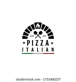 Firewood brick oven with shovel a, pizza logo design vector