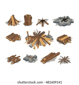 Firewood fireplace stack vector wooden material. Some bonfire tool design elements. Wooden logs stack