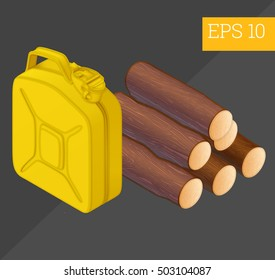 firewood and jerrycan eps10 vector illustration. firewood logs