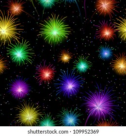 Firework background seamless of various colors on dark night sky. Wallpaper pattern for holiday web design. Vector