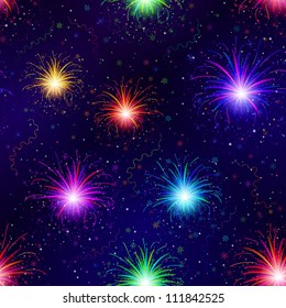 Firework background seamless of various colors on night sky. Pattern for holiday design. Vector eps10, contains transparencies