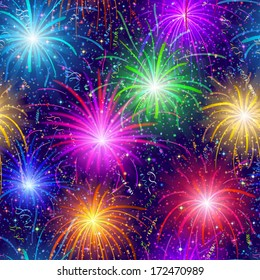Firework background seamless of various colors. Pattern for holiday design. Vector eps10, contains transparencies