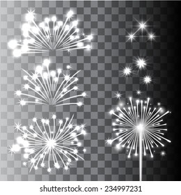 Firework Collection in transparent background. Vector Illustration