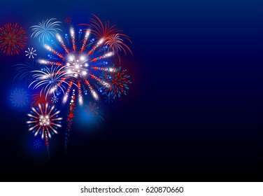 Firework design at night with copy space vector illustration