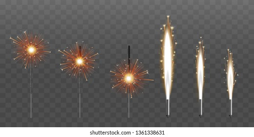 Firework fountain of sparks salute or pyrotechnic candle vector illustrations set of six isolated on black background. Bengal candle fire 3d realistic party or event element.
