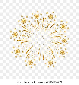 Firework gold isolated. Beautiful golden firework on transparent background. Bright decoration Christmas card, Happy New Year celebration, anniversary, festival. Flat design Vector illustration