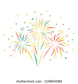 Firework hand drawn vector illustration isolated. Greeting card, Happy New Year, celebration, anniversary, birthday, wedding