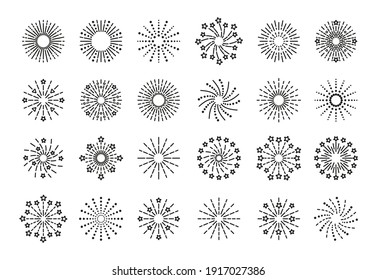 Firework icon. Line sparkle explosion. Set of burst stars and sparks. Happy new year shiny symbol. Outline birthday party elements isolated on white background. Vector illustration.