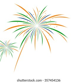 Firework independence day on white background vector illustration