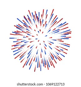 Firework isolated. Beautiful salute on white background. Bright firework decoration for Christmas card, Happy New Year celebration, anniversary, festival Vector illustration