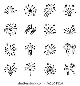 firework line icon. Petard, stars, festival and event, celebrate and party