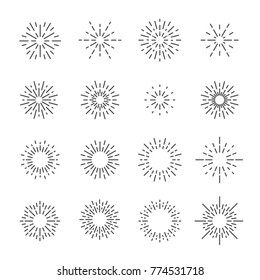 firework line icon set, vector eps10.