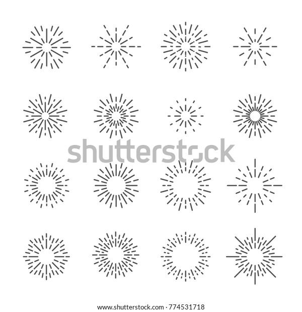 firework line icon set, vector eps10.