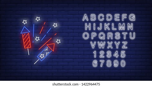 Firework neon sign. Petard, crackers, national holiday. Vector illustration in neon style for festive independence day banners, light billboards, 4th of July