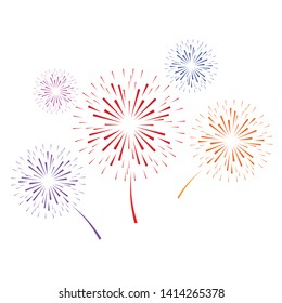 firework on white background, can be used for celebration, party, and new year event. vector illustration. - Vector illustration