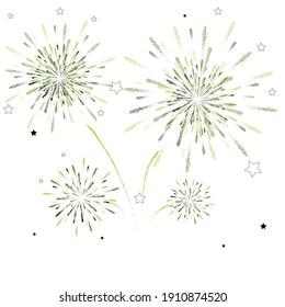 白い背景に花火。お祝い、パーティー、新年のイベントに使用できます。 ベクターイラスト。