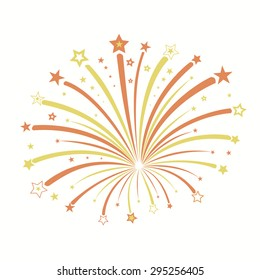 Firework with red and yellow stars burst,  holiday explosion picture -  vector illustration. concept for design
