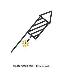 Firework Rocket icon. Vector thin line festive object illustration