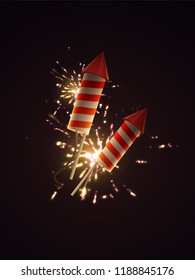 Firework rockets with sparkling fireworks explosions. Vector 3d illustration of pyrotechnics. Realistic firecrackers with light explosive effect