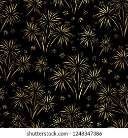 Firework seamless vector pattern. Gold foil isolated. Metallic shiny fireworks on black background. Bright decoration Christmas card, Happy New Year celebration, anniversary, festival, party, July.