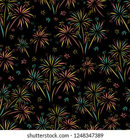 Firework seamless vector pattern isolated. Bright colorful Fireworks on black background. Bright decoration Christmas card, Happy New Year, celebration, anniversary, festival, party, 4th July, wedding