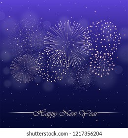 Firework show on violet night sky background with glow and sparkles. New year concept. Invitation, card, party background. Vector illustration
