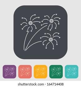 Firework. Single flat icon on the button. Vector illustration.