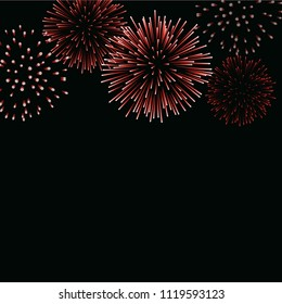 Firework sparkle background card. Beautiful bright fireworks isolated on black background. Light red decoration fireworks for Christmas card, New Year celebration Vector illustration