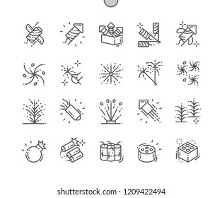Firework Well-crafted Pixel Perfect Vector Thin Line Icons 30 2x Grid for Web Graphics and Apps. Simple Minimal Pictogram