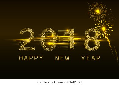 Fireworks with 2018 golden glitter number and Happy New Year text. illustration vector.