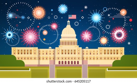 Fireworks Above White House, United States Independence Day Holiday 4 July Concept Flat Vector Illustration