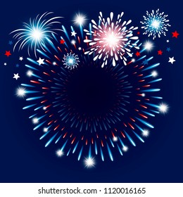 Fireworks background with copy space vector illustration
