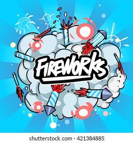 Fireworks background. Explosion Fireworks cloud