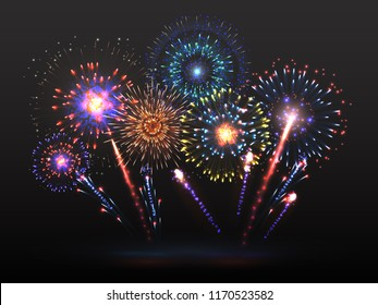 Fireworks background. Firework petard exploding in night. Light effect with firecracker sparks. 2019 happy new year vector backdrop. Firework with colored sparkle, petard and firecracker illustration