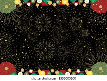 Fireworks background with Japanese flowers for New Year