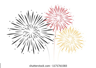 fireworks black red gold colors vector illustration EPS10