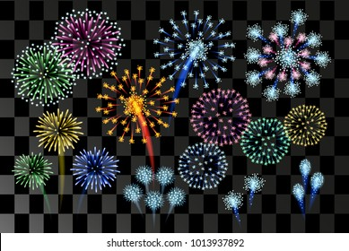 Fireworks bursting in various colors and shapes sparkling flashes, set to transparent black background vector isolated illustration