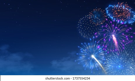 Fireworks bursts in starry night sky. Festival firework show, colorful bright banger and firecracker burst. Christmas celebration realistic vector background