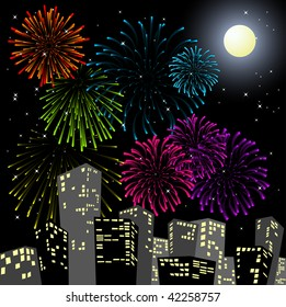 Fireworks in the centre of the city - New Year card (vector)