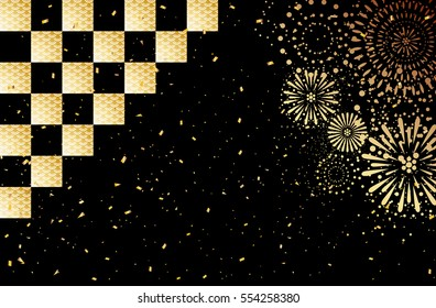 Fireworks and checkered background