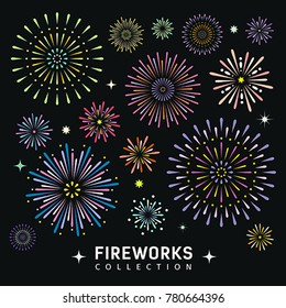 Fireworks collections design background, vector illustration